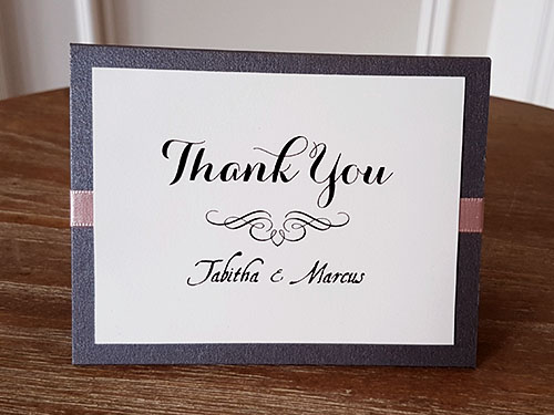 Thank You Card TY5: Brown Pearl, Cream Smooth, Brown Ribbon