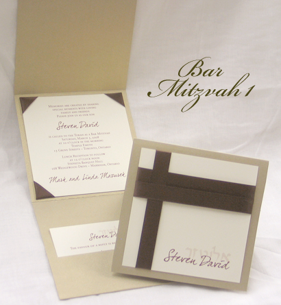 Invitation BarMitzvah1: Gold Pearl, Cream Smooth, Dear Joe 4, Sabon Roman, Brown Ribbon, Brown Ribbon, Brown Ribbon