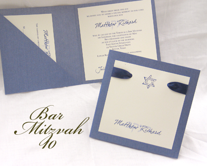 Invitation BarMitzvah10: Blue Steele Pearl, Cream Smooth, Dear Joe 4, Sabon Roman, Navy Ribbon