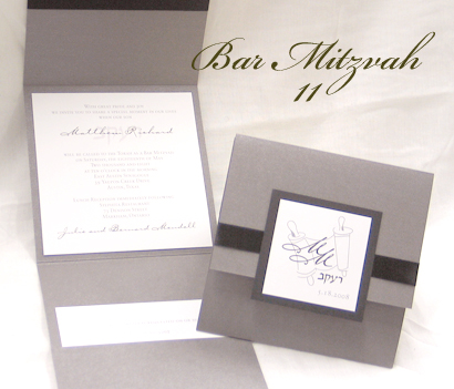 Invitation BarMitzvah11: Charcoal Pearl, Black Linen, White Smooth, Carpenter, Sabon Roman, Black Ribbon
