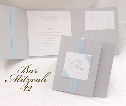 Invitation BarMitzvah12: Silver Pearl, White Smooth, Zaphino One, Sabon Roman, Light Blue Ribbon, Light Blue Ribbon