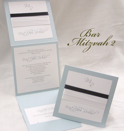 Invitation BarMitzvah2: Blue Aspire Pearl, White Smooth, Scriptina, Sabon Roman, White Ribbon, White Ribbon, Black Ribbon