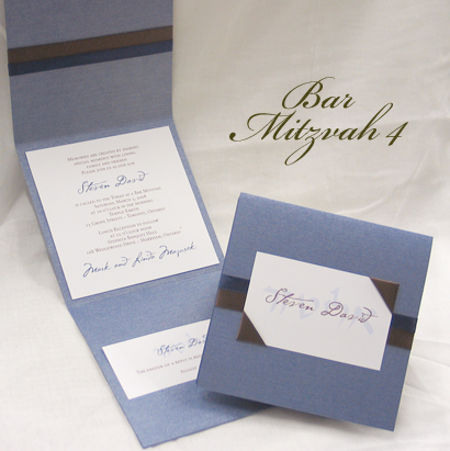 Invitation BarMitzvah4: Blue Steele Pearl, White Smooth, Cezanne, Sabon Roman, Brown Ribbon, Navy Ribbon, Brown Ribbon
