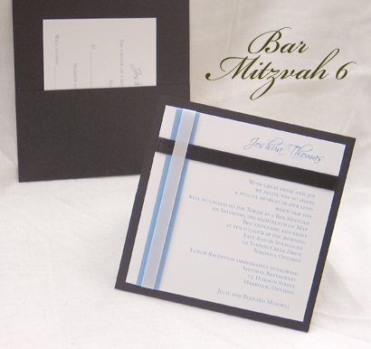 Invitation BarMitzvah6: Black Linen, White Smooth, Scriptina, Sabon Roman, Blue Mist Ribbon, White Ribbon, Black Ribbon