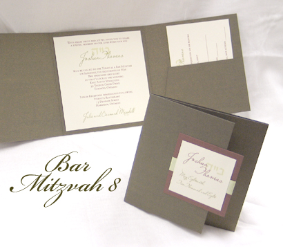 Invitation BarMitzvah8: Sage Pearl, Brown Pearl, Cream Smooth, Miss Le Gatees, Sabon Roman, Honeydew Ribbon