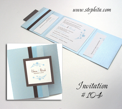 Invitation 104: Blue Aspire Pearl, Umber Brown, White Smooth, Amethyst Script, Brown Ribbon, Light Blue Ribbon