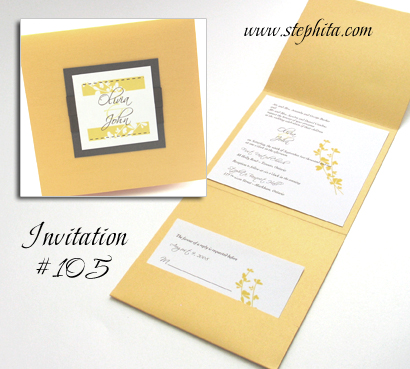 Invitation 105: Mango Pearl, Chocolate Smooth, White Smooth, Scriptina, Brown Ribbon