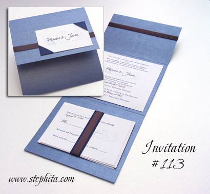 Invitation 113: Blue Steele Pearl, White Smooth, Navy Ribbon, Brown Ribbon