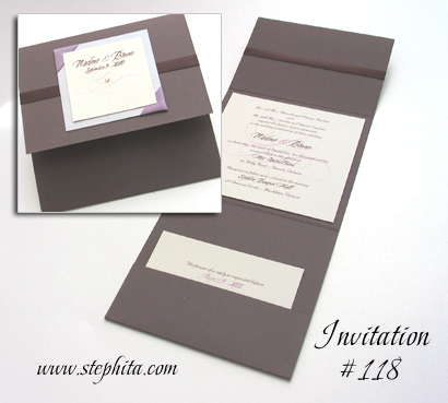 Invitation 118: Umber Brown, Mauve Pearl, Cream Smooth, Brown Ribbon, Lavender Ribbon