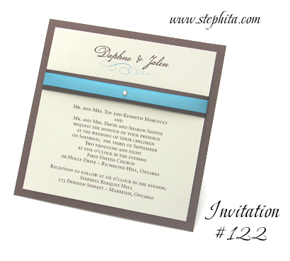 Invitation 122 Chocolate Linen Cream Smooth Brown Ribbon Turquoise