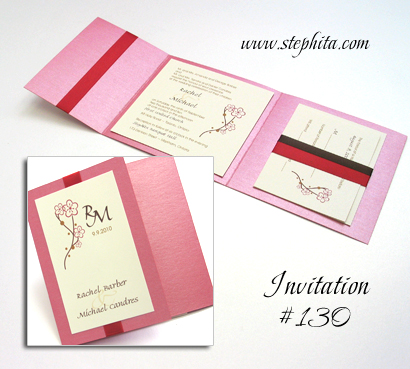 Invitation 130: Raspberry Pearl, Cream Smooth, Red Ribbon, Brown Ribbon