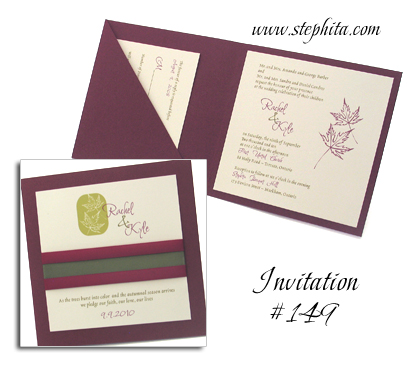 Invitation 149 Burgundy Linen Cream Smooth Sage Ribbon Wine Ribbon