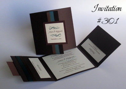 Invitation 301: Chocolate Linen, Brown Pearl, Swan Song, High Tower, Teal Ribbon, Brown Ribbon