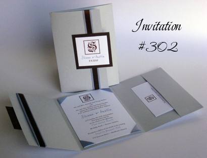 Invitation 302: Blue Plasma Pearl, Chocolate Smooth, Joe Hand 2, Adobe Jenson Pro Light, Blue Mist Ribbon, Brown Ribbon