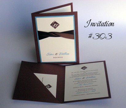 Invitation 303: Brown Pearl, Turquoise Pearl, Cherish, Sabon Roman, Brown Ribbon