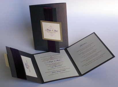 Invitation 304: Colbalt Pearl, Gold Pearl, Cherish, Calligraph 421, Purple Ribbon
