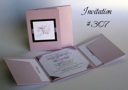 Invitation 307: Lilac Pearl, Chocolate Smooth, Canette, Sabon Roman, Lavender Ribbon