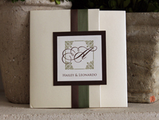 Invitation 902: Buttermilk Pearl, Chocolate Linen, Cream Smooth, Portofolio, Trajan Pro, Brown Ribbon, Sage Ribbon