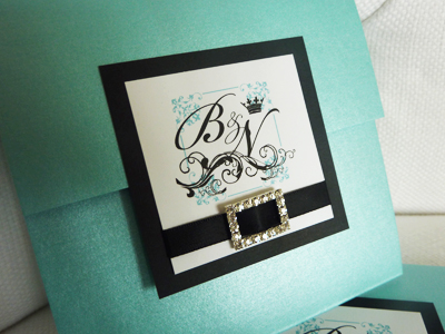 Invitation 904: Tiffany Pearl, Black Linen, White Smooth, Bickham Script 2, Sabon Roman, Black Ribbon, Brooch/Buckle M