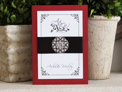 Invitation 905: Red Lacquer, White Smooth, Scriptina, Papyrus, Black Ribbon, Brooch/Buckle X