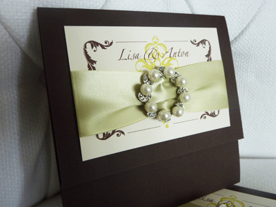 Invitation 906: Chocolate Linen, Cream Smooth, Zaphino One, Sabon Roman, Honeydew Ribbon, Brooch/Buckle W