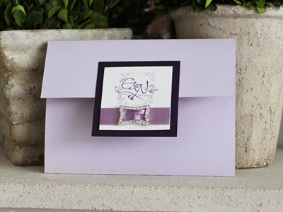 Invitation 907: Orchid Pearl, Dark Purple, Cream Smooth, Shalimar Swash, Lucida Calligraphy, Lavender Ribbon, Brooch/Buckle N