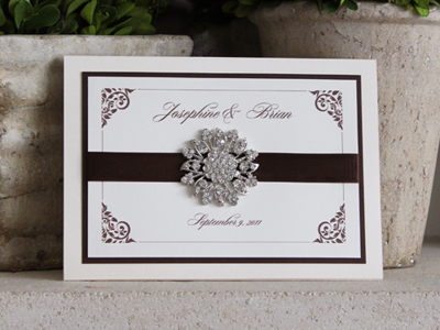 Invitation 908: Ivory Pearl, Chocolate Smooth, Cream Smooth, Diplomat, Ambient, Brown Ribbon, Brooch/Buckle A11