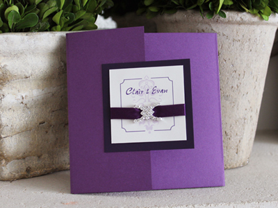 Invitation 911: Purple Pearl, Dark Purple, Cream Smooth, Pepsi, Calligraph 421, Purple Ribbon, Brooch/Buckle F