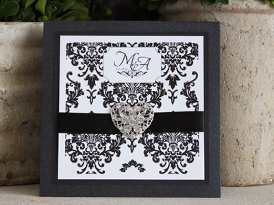 Invitation 913: Black Pearl, Black Linen, White Smooth, Beau Rivage, Monotype Corsiva, Black Ribbon, Brooch/Buckle U