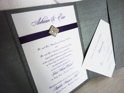 Invitation 917: Charcoal Pearl, Purple Pearl, White Smooth, Diplomat, Nuncio, Purple Ribbon, Brooch/Buckle I