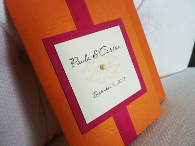 Invitation 924: Mandarin, Azalea, Cream Smooth, Passions, Lucida Calligraphy, Azalea Ribbon, Brooch/Buckle Pearl (Single)