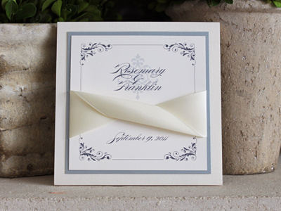 Invitation 926: White Gold, Chalice Silver Pearl, Cream Smooth, Burgues Script, Lucida Calligraphy, Cream Ribbon