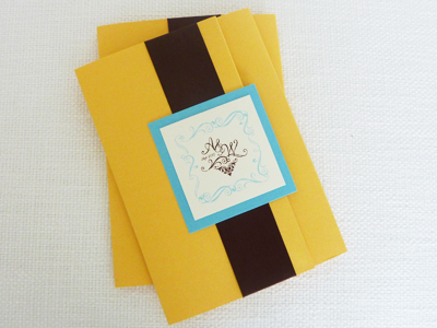 Invitation 933: Mango Pearl, Turquoise Pearl, Cream Smooth, CAC Champagne, Ambient, Brown Ribbon