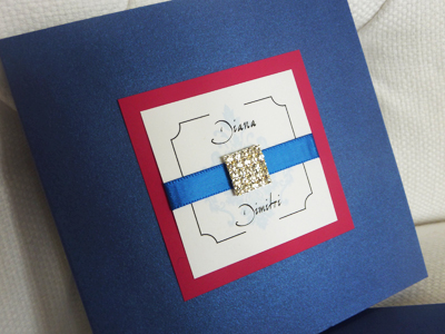 Invitation 934: Royal Blue Pearl, Azalea, White Smooth, Missiva, Calligraph 421, Royal Blue Ribbon, Brooch/Buckle I