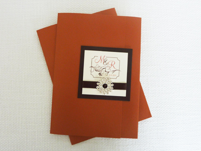 Invitation 940: Copper Pearl, Chocolate Smooth, Cream Smooth, Mahogany Script, Copperplate, Brown Ribbon, Brooch/Buckle H