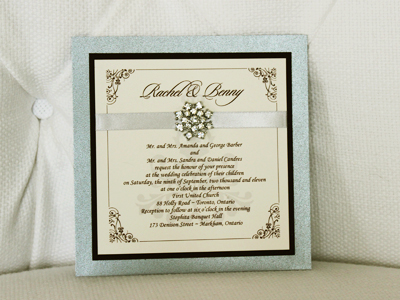 Invitation 941: Chalice Silver Pearl, Chocolate Smooth, Cream Smooth, Sloop, Monotype Corsiva, Silver Ribbon, Brooch/Buckle A9