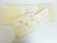 Invitation 923: Buttermilk Pearl, Ivory Pearl, Cream Smooth, The Nauti Gal, Dioscur Swash, Cream Ribbon, Brooch/Buckle G