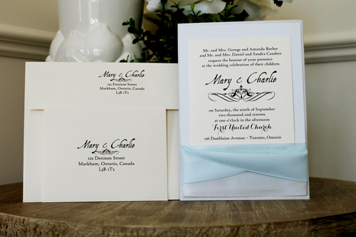 Wedding Invitation 1509: Silver Ore, Dust Blue, Cream Smooth, Aqualine 2, High Tower, Silver Ribbon, Icy Blue Ribbon