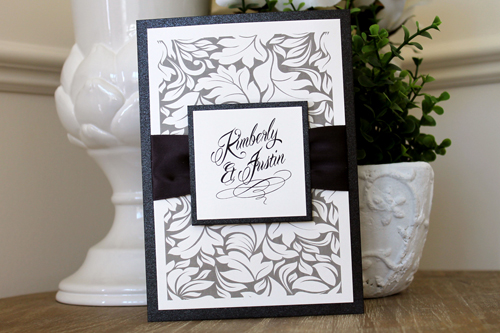 Wedding Invitation 1511: Black Pearl, Black Pearl, Cream Smooth, Mardian, High Tower, Deep Charcoal Ribbon