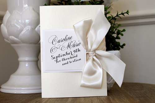 Wedding Invitation 1514: White Gold, Pearl, Cream Smooth, Maratre, High Tower, Antique Ribbon