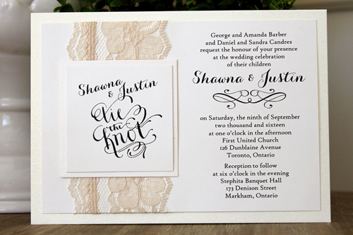 Wedding Invitation 1515: White Gold, Ivory Pearl, Carolyna Pro, High Tower, Cream Lace