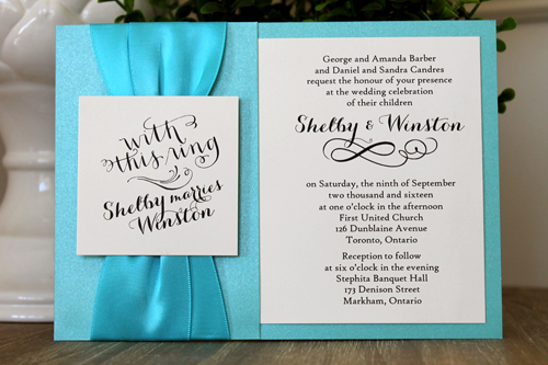 Wedding Invitation 1516: Tiffany Pearl, Cream Smooth, Carolyna Pro, High Tower, Turquoise Ribbon, Turquoise Ribbon