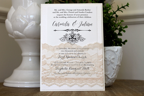 Wedding Invitation 1521: Buttermilk Pearl, Ivory Pearl, Cream Smooth, Asterism, High Tower, Cream - Thick Lace