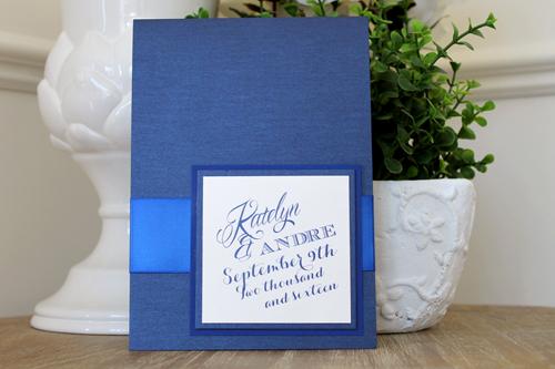 Wedding Invitation 1522: Navy Pearl, Marine Blue, Cream Smooth, Mardian, High ...