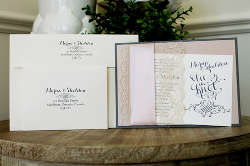 Wedding Invitation 1526: Charcoal Pearl, Blush Pearl, Cream Smooth, Carolyna Pro, High Tower, Deep Blush Ribbon, Cream Lace