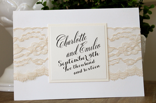Wedding Invitation 1527: Pearl, Ivory Pearl, Cream Smooth, Belluccia Pro, High Tower, Cream - Thick Lace