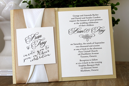 Wedding Invitation 1529: Gold Dust, Cream Smooth, Portofolio, High Tower, Champagne Ribbon, Champagne Ribbon, Antique Ribbon