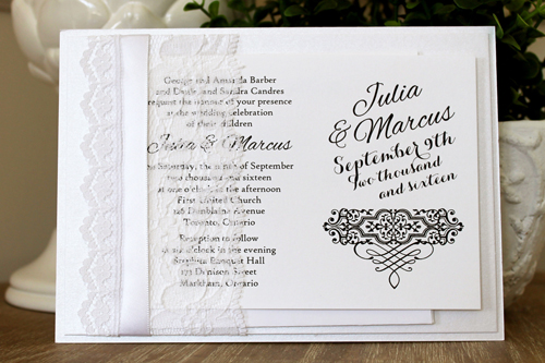Wedding Invitation 1536: Ice Pearl, Ice Pearl, White Smooth, Alex Brush, High Tower, White Ribbon, White - Thick Lace