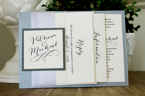 Wedding Invitation 1537: Galvanized Dark Silver, Charcoal Pearl, Cream Smooth, Bombshell Pro, High Tower, Lilac Mist Ribbon