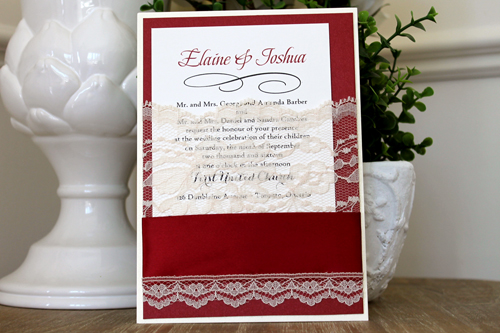 Wedding Invitation 1539: White Gold, Red Lacquer, Cream Smooth, Beau Rivage, High Tower, Sherry Ribbon, Cream - Thick Lace